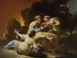 FRANCISCO DE GOYA (Fuendetodos 1746 - 1828 Bordeaux) «Lot e le sue figlie», Olio su tela, 91 x 125 cm.