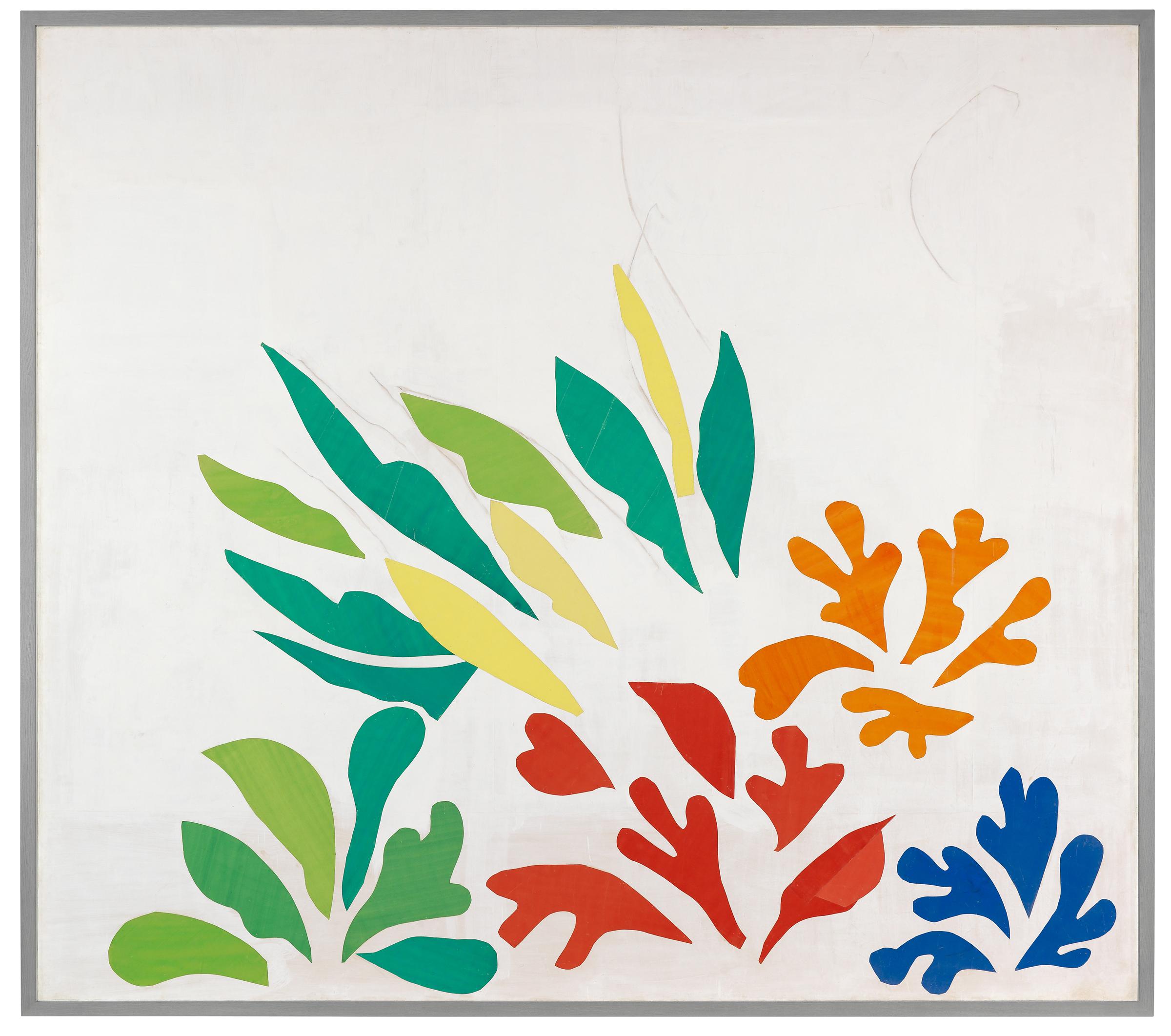 Henri Matisse, «Acanthes», 1953, carboncino, carte ritagliate pitturate a guazzo, carta su tela, 311 x 350,5 cm, Fondazione Beyeler, RiehenBasilea.