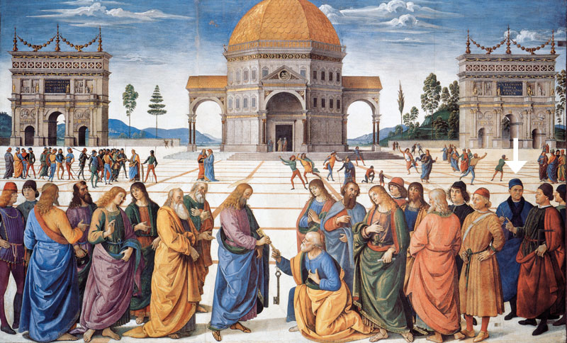 """Perugino, affresco nella Cappella Sistina, la """"Consegna delle chiavi""""."""